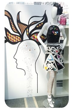 mannequin next to picture