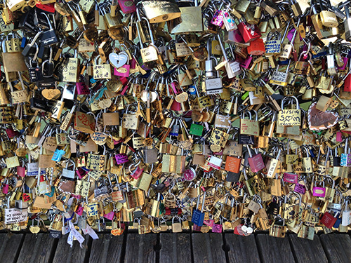 locks closeup from Love Locks Bridge