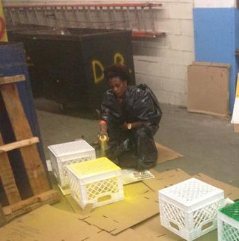 LIM College - Spraypainting crates