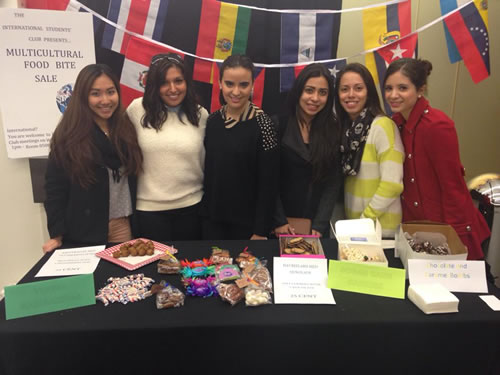 Girls at multicultural food sale