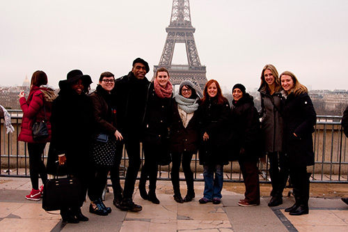 in front of Eiffel Tower