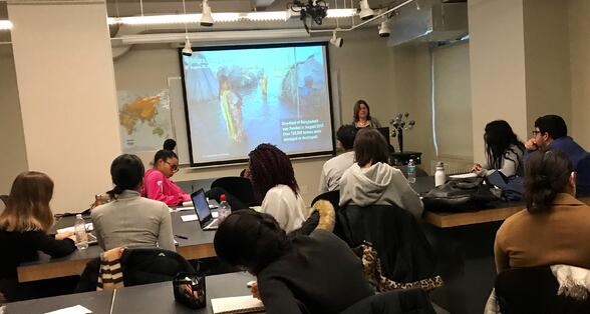 Patty Buchanan speaks to LIM College students