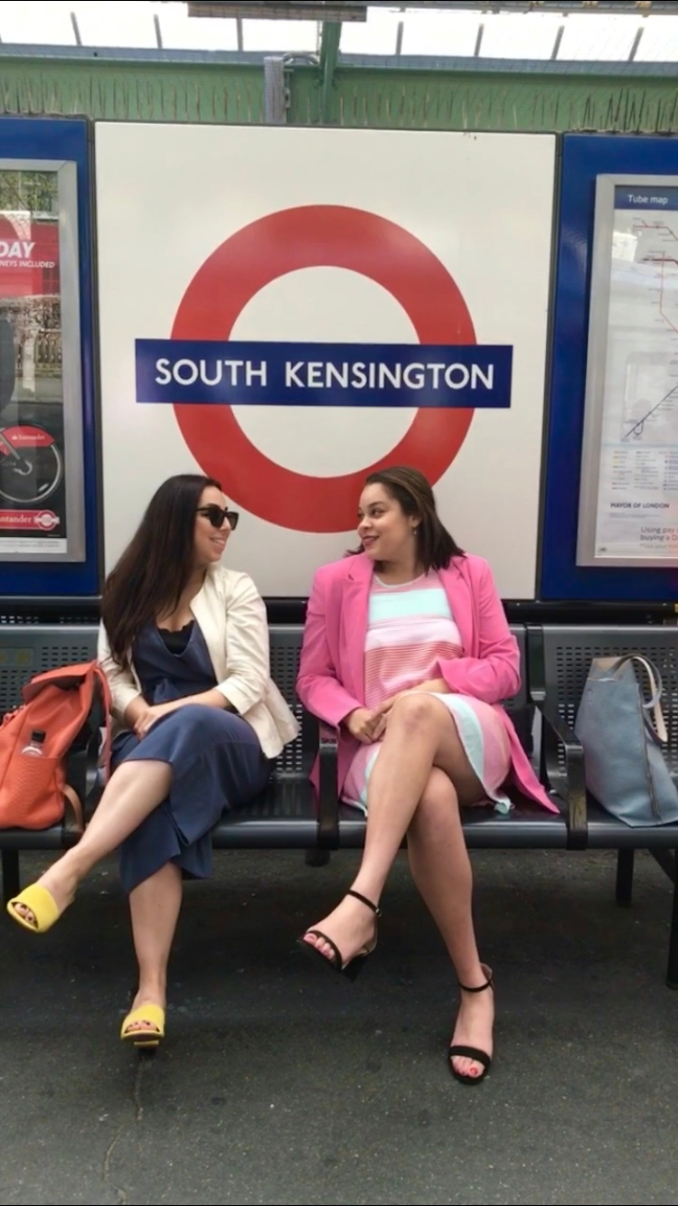 Ashley and Izzy in the South Kensington Tube stop