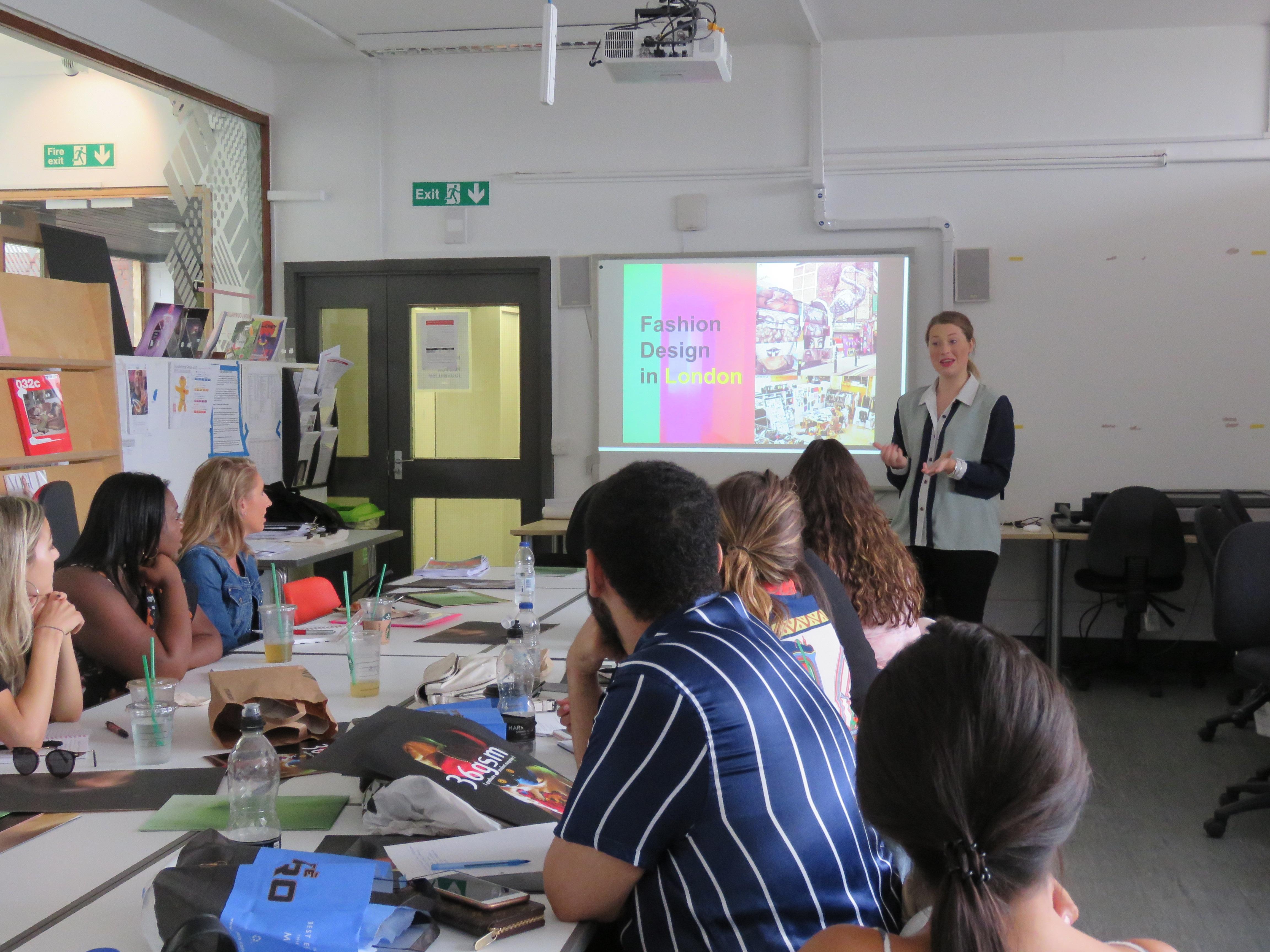 IMG_0647-Rachel James, menswear designer talking to students at UCA