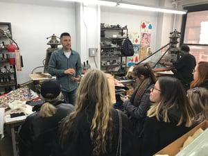 Adam Schmalberg talks to LIM College students