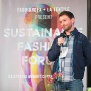 Speaker Alexander Katz from Patagonia discussing fashion sustainability