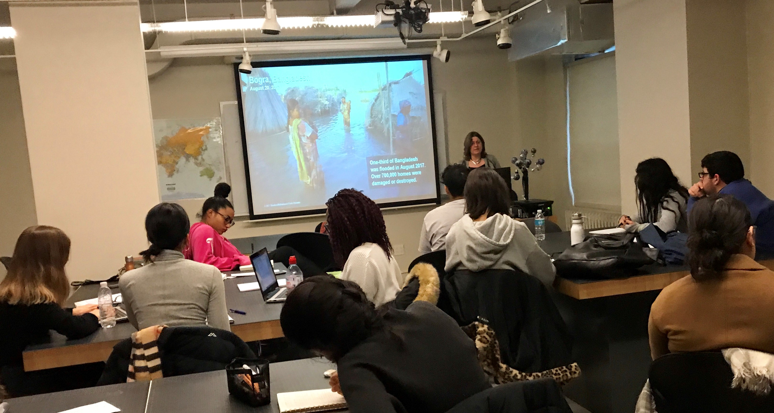 Patty Buchanan speaks to LIM College students